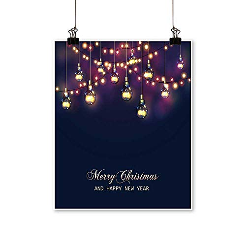 Hanging Painting Christmas and New Year Card with Festive Garland Lights and Light Bulbs Vector Rich in Color,28