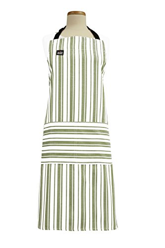- All-Clad Textiles Professional Stain Resistant Heavyweight Cotton Twill Bib Apron with Adjustable Straps, Striped Sage Green