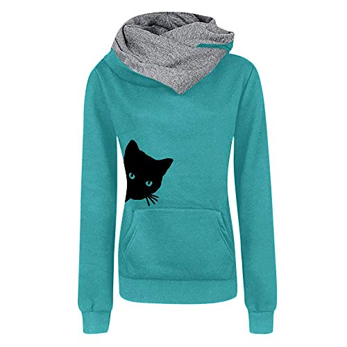 Womens for Hoodies, FORUU Ladies 2018 Winter Sale Christmas Thanksgiving Friday Monday Under 10 Best Gift for Her Casual Cat Printing Sleeve Pullover Shirts Tops Blouse Sweatshirt BU/L