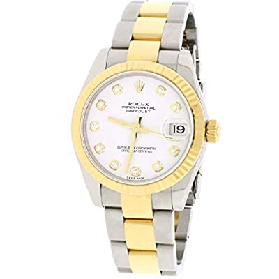 White Datejust Midsize 2-Tone Diamond Dial 31mm Oyster 178273 Papers Watch by Rolex