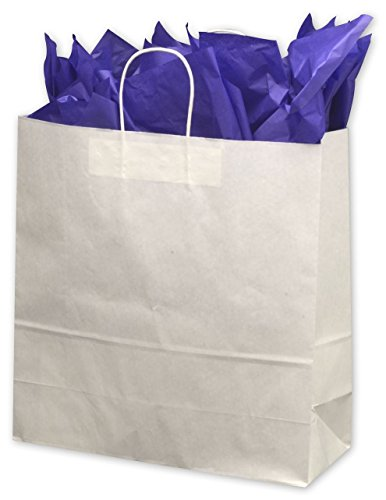 Solid Color Pattern Shopping Bags - White Paper Shoppers Jumbo, 18 x 7 x 19'' (200 Bags) - BOWS-14-180718-9M by Miller Supply Inc