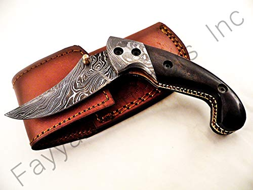 Double Folder Bolster (FAYYAZ BROTHERS Handmade Damascus Steel Pocket Folding Knife/Pocket Knife AA-15199 Liner Lock (Brown Colored Bone))