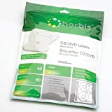 CD/DVD Labels Glossy Inkjet, White, 80 Labels + Label Applicator, Office Central