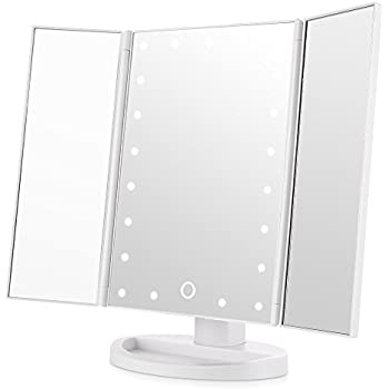 Easehold Led Lighted Vanity Mirror Make Up Tri Fold With 21pcs Lights 180 Degree Free Rotation Table Countertop Cosmetic Bathroom Mirror White