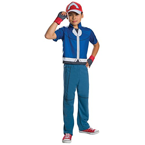 [Child Pokemon Ash Deluxe Costume - Size Medium] (Ash Pokemon Halloween Costume)