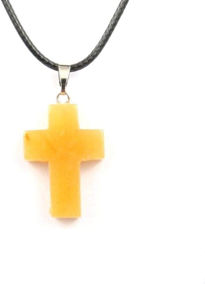 TIANHQ Colgante De Piedra Natural Collar De Cristal En Forma De Cruz Collar De Calidad Accesorios De Joyería Unisex