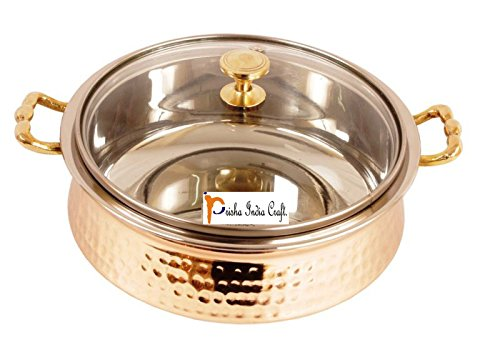 Copper Stainless Steel Casserole (Prisha India Craft SMALL SIZE Handmade Steel Copper Casserole with Lid- Copper Serving Handi Bowl - Copper Serveware Dishes Bowl Dia - 5.00
