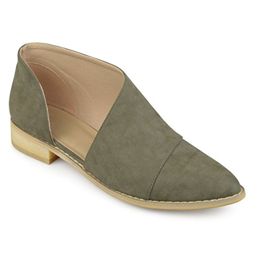 Journee Collection Mujeres Dorsay Almond Toe Flats Olive