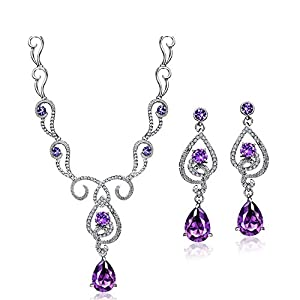 Neoglory Purple Cubic Zirconia Teardrop Jewelry Set Necklace Earrings Wedding Bridal Women Jewelry embellished with…