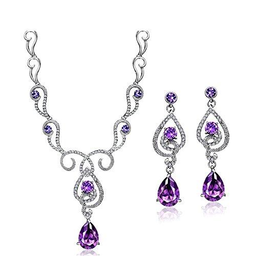 Swarovski Zirconia Flower - Neoglory Purple Cubic Zirconia Made with Swarovski Elements Teardrop Jewelry Set Necklace Earrings Wedding Bridal Women Jewelry