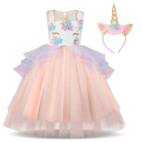 TTYAOVO Girl Flower Unicorn Costume Lace Tulle Princess Pageant Party Dress with Unicorn Headband Size 4-5 Years Pink