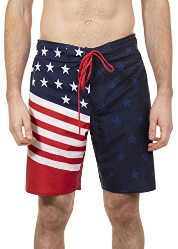LAGUNA Mens American Flag USA Boardshorts Swim Trunks, UPF 50+, Red/White/Blue, S
