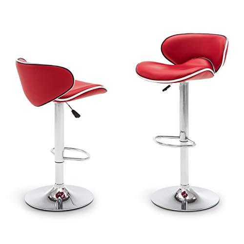 (Belleze Adjustable Saddleback Design 360 Degree Swivel Bar Stool Seat - Set of 2 (Red))
