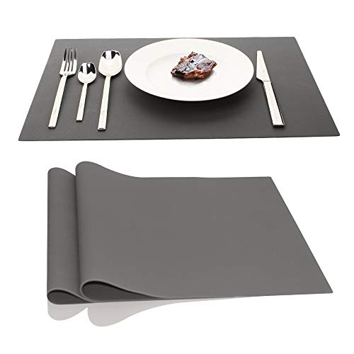 IPHOX Large Silicone Mats Table Mats Placemats Countertop Protection, Place Mats for Kitchen Dining Table Heat Resistant Baking Mat, Tablemat for Baby Kid Children, 17.7″x12.6″ Inches, 1mm (Dark Gray)