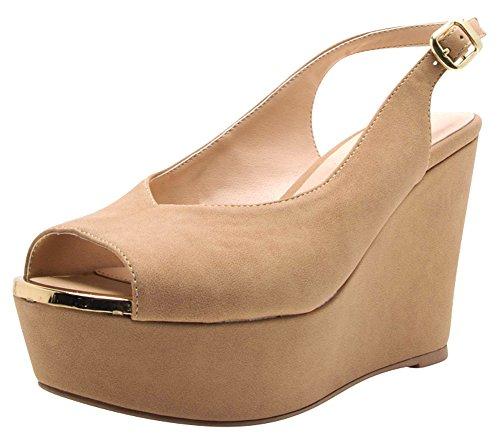 Cambridge Select Women Peep Toe Buckled Slingback High Platform Wedge Sandaal Tan Nbpu