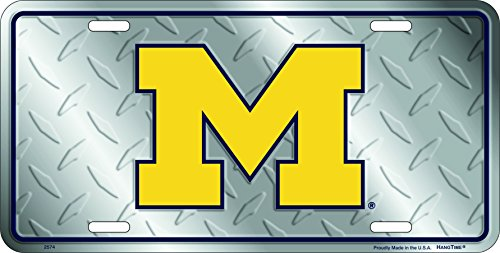 (University of Michigan Wolverines Diamond Cut Tin License Plate)