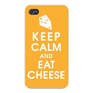 Apple Iphone Custom Case 6 plus 5.5 White Plastic Snap on - Keep Calm and Eat Cheese w/ Triangle Slice