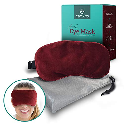 Plush Eye Mask for Dry Eyes | Ultra-Soft Moist Heat Eye Compress Pad for Pink Eye, Blepharitis, Puffy Eyes, MGD, Migraine, Sleep, Stye Treatment Relief| Reusable Warm Compress with Silica Beads (Red)