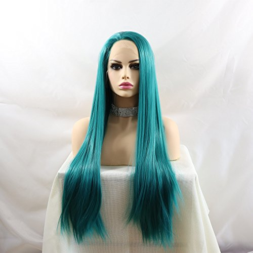 Lucyhairwig Teal Blue Lace Front Wig Heat Resistant Fiber Hair Synthetic Lace Front Wigs Straight Glueless Wigs For Women