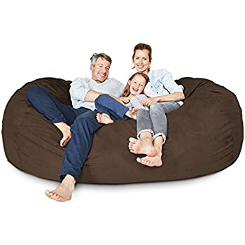 Modern Lumaland Luxury 7 Foot Bean Bag Chair with Microsuede Cover Brown Machine Washable Big For Your House - Unique big bean bags for adults Model