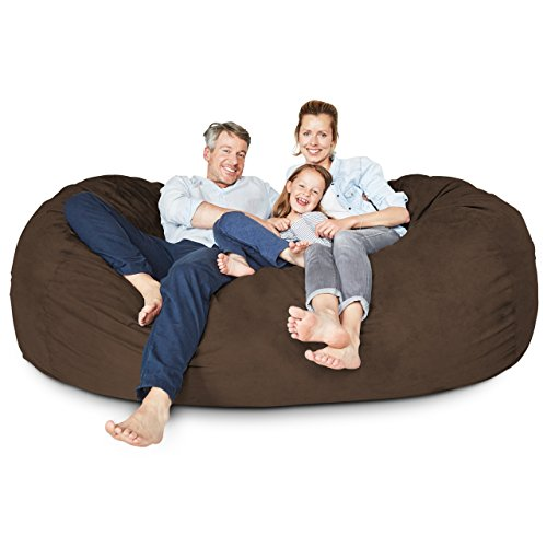 Giants Sofa - Lumaland Luxury 7-Foot Bean Bag Chair with Microsuede Cover Brown, Machine Washable Big Size Sofa and Giant Lounger Furniture for Kids, Teens and Adults