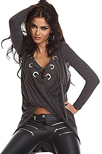 Tops de manga larga con volantes suéter camisa sudadera mujer blusas Darkgrey
