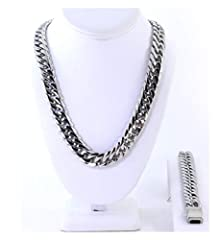 "This listing is for a brand new men's stainless steel high quality Cuban link chain and bracelet set.The chain is 16mm wide and 30"" in length approximately. The bracelet is also high quality stainless steel Cuban link,same like the chain and ..."
