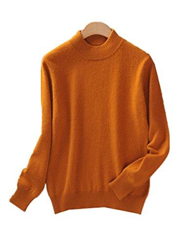 WHENOW Women's Slim Classic Wool Crew Neck Knit Jumper Pullover Sweater Orange S