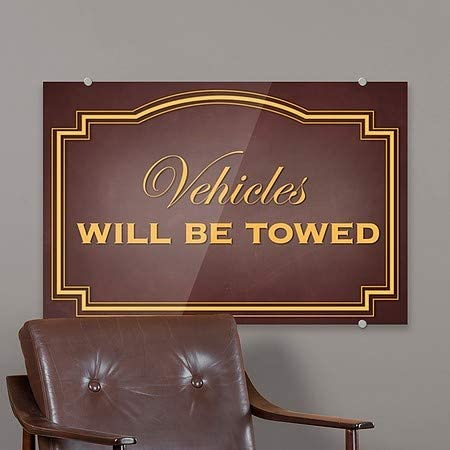 CGSignLab 18x12 5-Pack Vehicles Will Be Towed Classic Brown Premium Acrylic Sign
