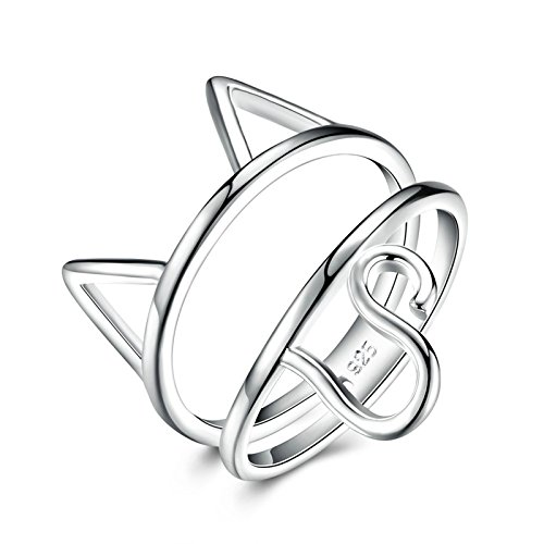 Epinki White Gold Plated Women Silver Cat Kitty Ring Anniversary Bridal Wedding Band Ring Size - Days Unii
