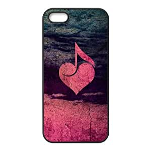 iPhone 5 5s Cell Phone Case Black Rustic Musical Heart E3H6UO