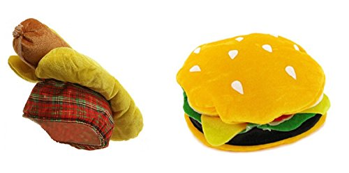 Costume Fast Food Dog (Hamburger Cheeseburger Hotdog Hot Dog Bun Hat Weiner Food Vendor Costume)