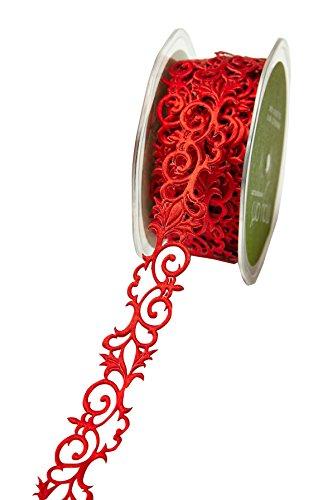 Paper Ribbon Adhesive (May Arts Adhesive Fleur-De-Lis Scroll Design Ribbon, 0.875-Inch by 10-Yard, Red)