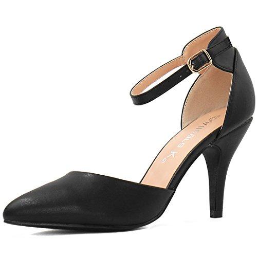 Ankle Strap Pump Shoes (Allegra K Women's Pointed Toe Stiletto Heel Ankle Strap Pumps (Size US 8) Black)