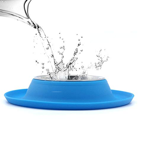(Super Design Single Stainless Steel Bowls in Non-Skid & No Spill Silicone Mat,for Small Dogs or Cats, Medium, Blue)