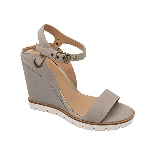 (Ella | Modern Luxe Leather High Wedge Sport Sandal Rock Nubuck 9.5M)