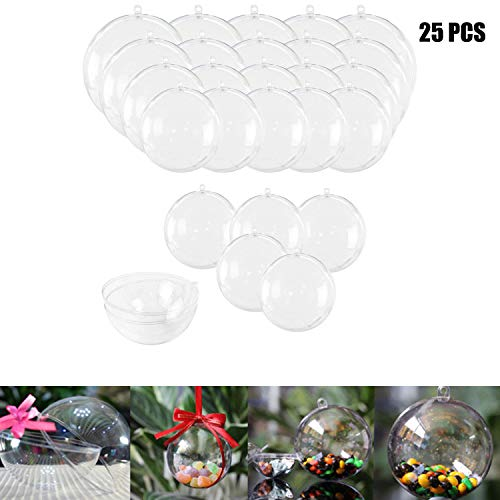 Haawooky 25 Sets Clear Fillable Ornaments Ball in 5 Different Size,DIY Plastic Acrylic Fillable Ball for Party Decor ()