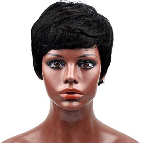 Beauty : Naseily Short Curly Synthetic Wigs For Black Women Natural Black Hair Wig African American Women Wigs