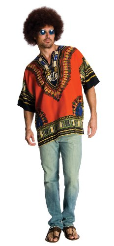 Funny Simple Mens Halloween Costumes (Rubie's Heroes And Hombres Men's Hippie Shirt And Wig, Orange,)