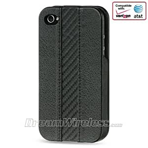 Designed Apple iPhone 4 / 4S Black Veritcal Leather Pouch with Flip