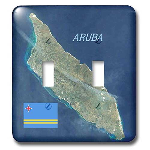 3dRose lens Art by Florene - Topo Maps And Flags - Image of Aerial Topo View With Flag Of Aruba - Light Switch Covers - double toggle switch (lsp_306862_2)