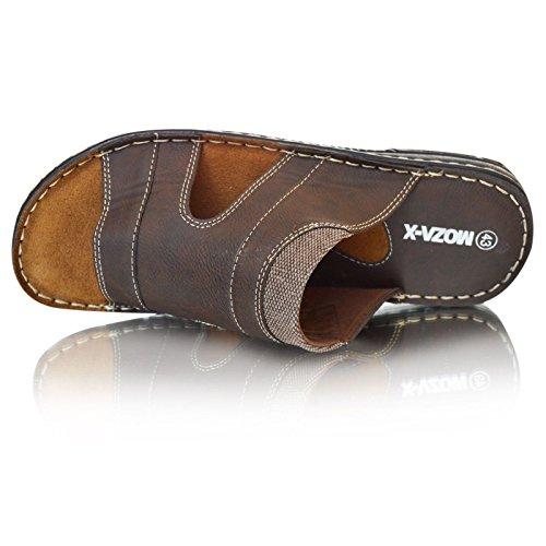 41 9 Herren 39 Slipper 12 11 7 Braun Sandalen Größe Leder Braun gepolstert Zehentrenner Schwarz 10 8 Komfort wUTPHRwqC