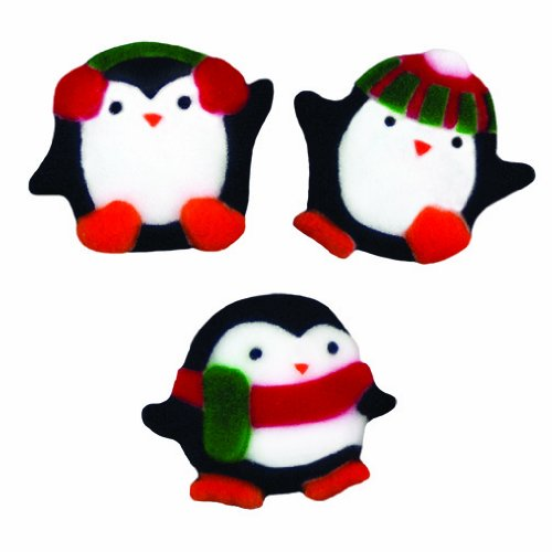 Winter Christmas Penguin Sugar Decorations Cookie Cupcake Cake 12 Count (Decorated Cookie Cake)