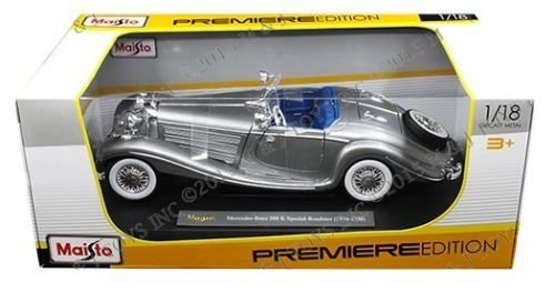NEW 1:18 W/B MAISTO PREMIERE EDITION - GREY MERCEDES-BENZ 500 K SPEZIAL-ROADSTER (1934-1936) Diecast Model Car By Maisto