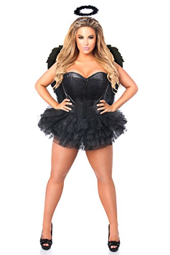 Daisy Corsets Women's Lavish Plus Size Flirty Dark Angel Corset Costume, Black, 3X
