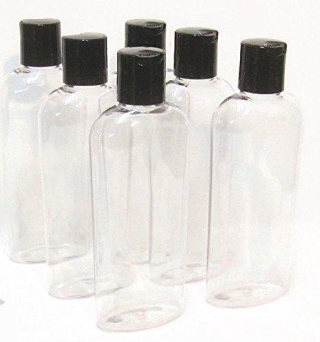 6 oz Clear Cosmo Oval Plastic BAIRE BOTTLES, Black Disc Top Caps 6 Pack, BONUS 6 FLORAL WATERPROOF LABELS by Baire Bottles (Image #5)