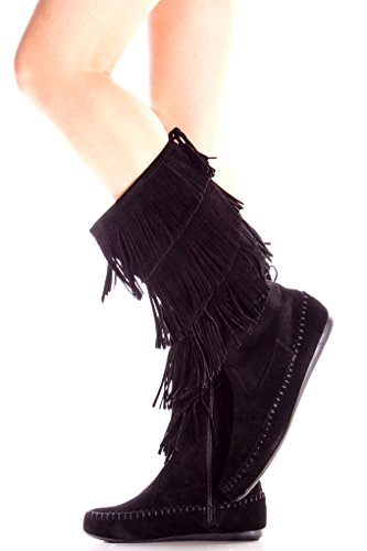 Lolli Couture Forever Womens Candice-16 Frange In Finta Pelle Scamosciata Moda Stivali Black16