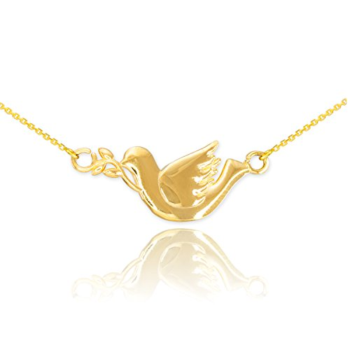 Religious Jewelry by FDJ High Polish 14k Yellow Gold Peace Dove with Olive Branch Pendant Necklace, - Gold Branch Pendant