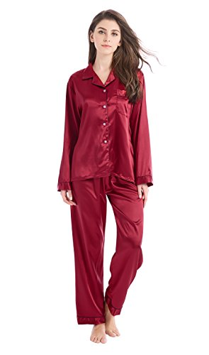 Tony & Candice Women's Classic Satin Pajama Set Sleepwear Loungewear (Medium, Burgundy with Black Piping)