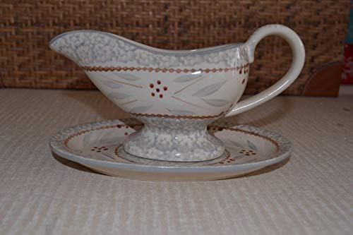 Old World Gray Gravy Boat & Tray Old World Or Floral Lace Stoneware K33851 H19936 - Boat Gravy Gray